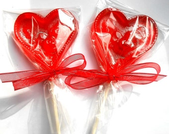 MOTHERS DAY GIFT, Brandied Cherry Heart Lollipops, I Love You Valentine, Favors, Gifts, Flower Lollipops