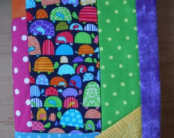 Patchwork Book Cover, Large Hardback, Cotton Fabric, Book Sleeve, Bright Neon Prints, Green Pink Blue, Mothers Day, Bookworm Gift, Reading