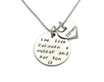 """Mother & SON Necklace """"The love between a mother and her son is forever"""" hand stamped mother necklace"""