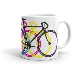 Ceramic Mug: CMYK Bikes