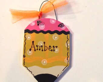 Personalized Wooden Teacher Pencil Winter Tree Ornament - Your Name - Christmas Holiday - Hand Painted Wood - School Ribbon Bow
