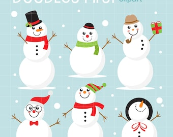 Happy Snowmen Digital Clip Art for Scrapbooking Card Making Cupcake Toppers Paper Crafts