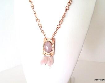 Rose Quartz Copper Necklace, Artisan Copper Necklace, Gift for Her