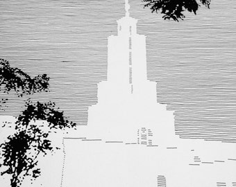 LUBBOCK Texas LDS Temple (Original Drawing) Modern Ink Lines