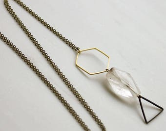 Crystal necklace, triangle long pendant necklace, Long necklace, Geometric long necklace, Statement Necklace, crystal necklace,