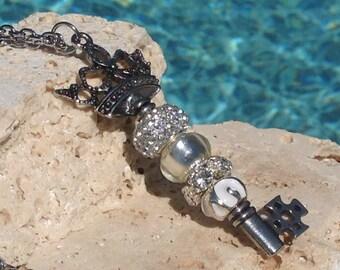 White Key Necklace, Key necklace, White rhinestone necklace, White key pendant, White rhinestone pendant, Key pendant