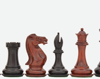 Triple Weighted Staunton chess set Rare Bud Rose/Ebony Wood 4 queens Handcarved in India.SKU: S1224