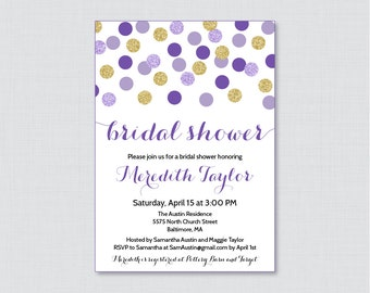 Purple and Gold Bridal Shower Invitation Printable or Printed - Purple Gold Glitter Dots Bridal Shower Invites Gold Glitter Bridal 0001-R