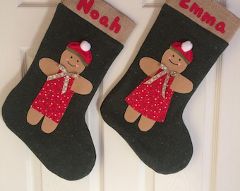 Christmas stocking, gingerbread boy girl stocking