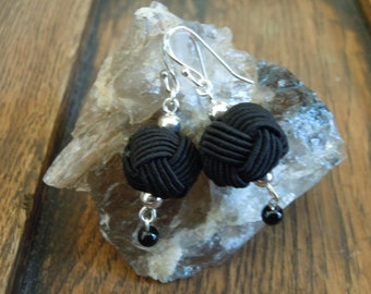 Black Woven Bead and Sterling Silver Earrings