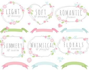 Floral frames - wedding clipart summer clip art spring flowers leaves romantic vignette digital decorations for scrapbooking commercial use