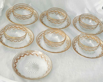 Rare Antique 1920s SAINT LOUIS CRYSTAL Beethoven Elegant 6 Bowls 8 Under plates Ornate Gold Encrusted Etched Exc Vintage Condition & 1920s dinnerware   Etsy