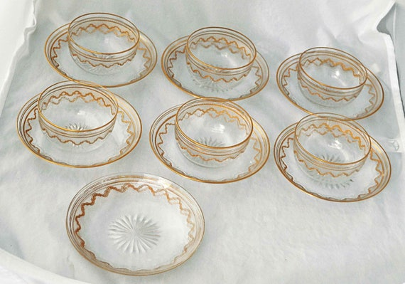 Rare Antique 1920s SAINT LOUIS CRYSTAL Beethoven Elegant 6 Bowls 8 Under plates Ornate Gold Encrusted Etched Exc Vintage Condition