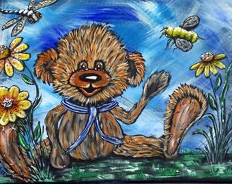 Teddy Bear ACEO Print, Artist Trading Card, ACEO Print made from my Original Acrylic Painting, Collector art card, Limited edition, Gifts