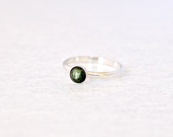Jade Ring.  Sterling Silver ring with Wyoming Jade stone.  Earthy green ring, simple everyday wear jewelry.