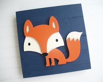 Fox Sign . 12 x 12  3D . Fox Decor . Fox Nursery . Woodland Nursery .Tribal Nursery .Wood Fox . Woodland . Tribal Nursery Art .
