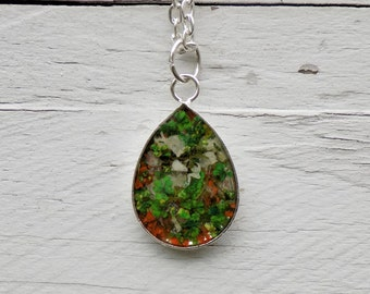 Flower Resin Charm Necklace, teardrop pendant, women accessories, boho jewelry, bohemian, real flower jewelry, silver necklace, floral