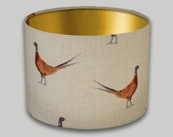 Mr Pheasant Country Drum Lampshade Brushed Gold Inner Lightshade Lamp Shade 20cm 25cm 30cm 35cm 40cm