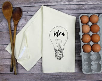 Kitchen Dish Towel - Tea Towel - Idea Lightbulb