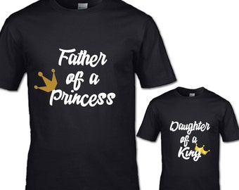Father of a princess and daughter of a King T-Shirt Set couples his and her family teen womans mans clothing