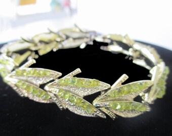 Silver Tone Bracelet * Green Rhinestones * Leaf Design * Classic Vintage * Gift For Lady