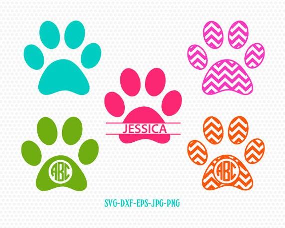 DOG PAWS monogram frames SVG files, Silhouette Studio Files, CriCut ...