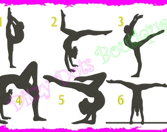 6 Gymnastic Fill Silhouettes Embroidery design