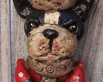 Folk Art Boston Terrier Dog Santa Christmas Handmade Ornament Ooak