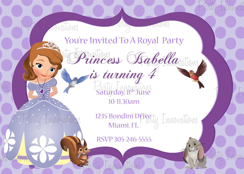 Printable sofia the first birthday party invitation plus free zoom stopboris Images