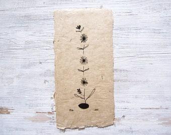 flowers ink drawing, ORIGINAL ink illustration, abstract ink art, bohemian art, daisy black ink drawing, zen, boho, Japanese, asian ink art
