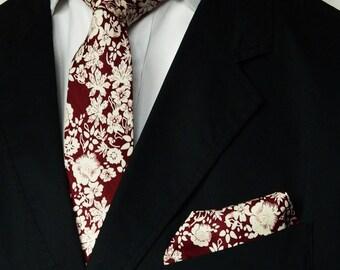 Burgundy Floral Tie Mens Floral Pocket Square Wedding Tie Men's Gift Skinny Tie Pocket Square Groomsmen Wedding Ties uk