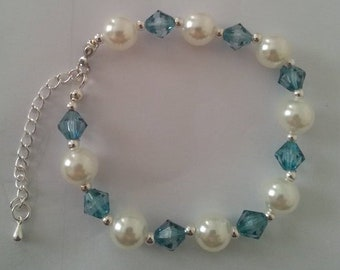 Blue and Pearl Nila Bracelet