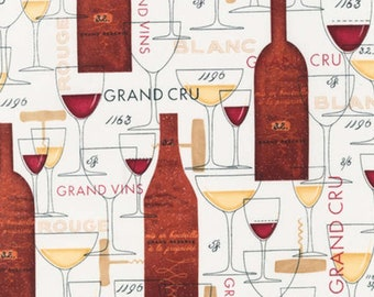 Cheers - Wine Glasses and Varietals on Cream premium cotton fabric from Robert Kaufman