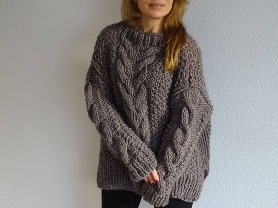 sweater pure oversized knit pullover wool sleeves long loose ready sweater slouchy sweater to sweater bulky knit knit ship dnxqO8Bd