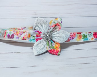 Wedding dog Flower collar, Floral dog collar, custom girl dog collar, Small/medium/large/Puppy dog collar, Japanese Kimono daisy dog collar