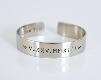 Roman Numeral Cuff // Birthdate Bracelet // Anniversary Band // Personalized Bracelet // Knox Thomas Designs
