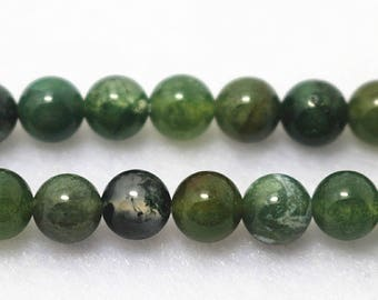 Moss Agate, Smooth Round Beads, 15 Inch Full Strand ( 6 mm 8mm 10mm 12mm )
