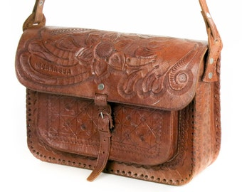 Vintage Handmade Dark Brown Genuine Leather Shoulder Bag Flap Bag Purse Handbag Made In Nicaragua Fabulous Condition
