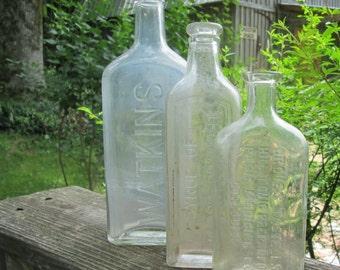 Three Vintage/ Antique Medicine Bottles - Syrup of Black Draught/ Groves Tonic/ Watkins - Instant Bottle Collection
