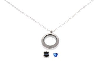 Thin Blue Line Police Officer Floating Locket Necklace, Gift for Female Police Officer, Police Wife,  Floating Locket, Police Necklace
