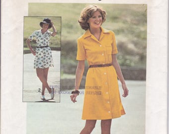 FREE US SHIP Simplicity 6962 Vintage Retro 1970's 70's Jiffy Shirtdress Dress Uncut Size 10 Bust 32.5