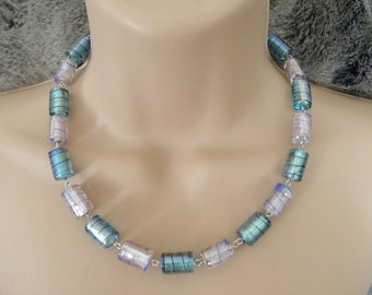Handmade Powder Pink and Baby Blue Chunky Necklace