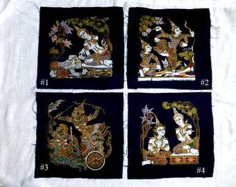 "Boho Thai Art Print - Mythical Figures Silk Screens - DIY Cushion Cover - Oriental Textile Art Wall Hanging in 4 Designs - Fabric 11"" Square"