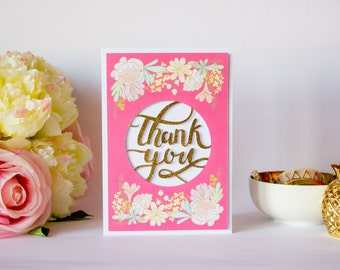 Thank You Card - Die-cut Card - Wedding Thank You - Greeting Card - Gold Embossed - Floral - Pink - Blank