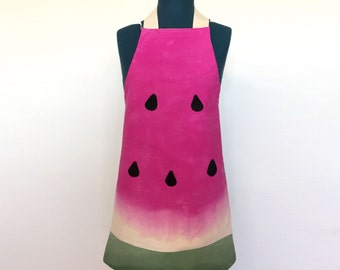 Child's Watermelon Bib Apron for Kids 4-12 - Hand Dyed Ombre Watermelon
