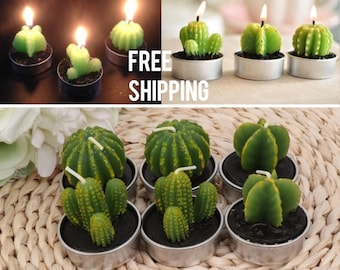 Cactus succulents 6 piece Mini Tea Light Candles -Free Shipping