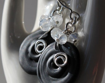 Black Lamp Work and Moonstone Sterling Silver Earrings, Black and White Handmade Silver Earrings