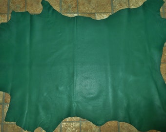 Leather 7-8 sq ft Kelly Green Cationic Finished Goatskin Hide (not this hide, a similar one) 2.5-2.75 oz / 1-1.1 mm PeggySueAlso