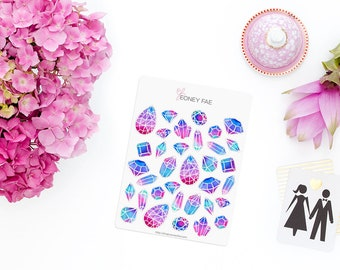 Midnight Jewels Stickerset-watercolor sticker-pretty planning-scrapbooking-bullet journaling