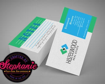 Business Card Template AI Instant Download Real Estate Realtor Custom Design Colors Simple Thank You Message Single or Double Sided